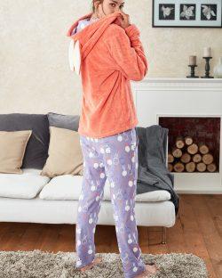 Doreanse Kapşonlu Bayan Pijama Takımı 4118 arka