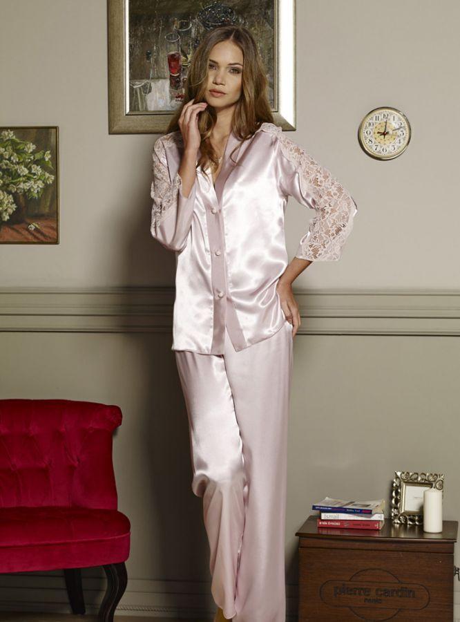 Pierre Cardin iç giyim Çeyizlik 6lı Saten Gecelik, Pijama, Sabahlık ve Şort Takımı 6660 2