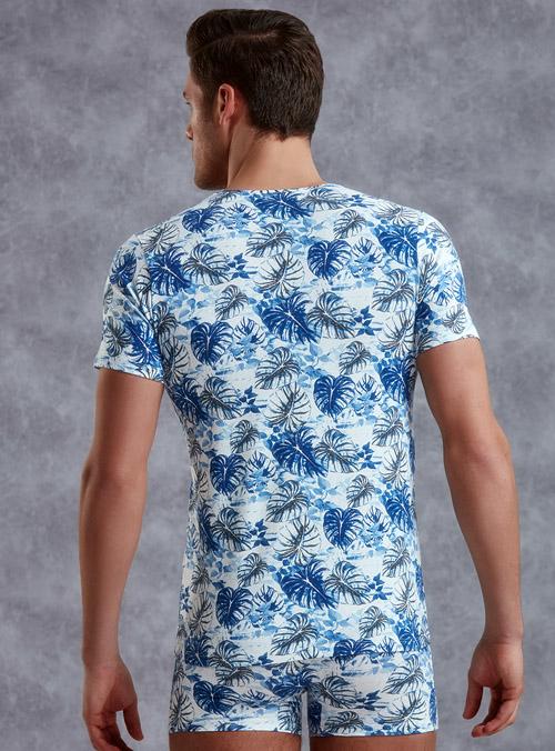 Desenli Slim Fit Desenli Erkek T-shirt 2540 arka