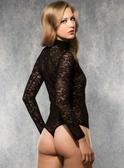 Doreanse Siyah Dantelli String Body 12430 arka