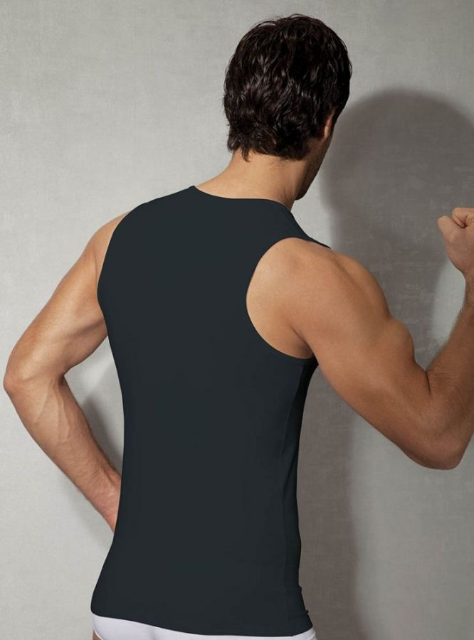 Doreanse, V Yaka Likralı Erkek Atlet 2210 siyah arka