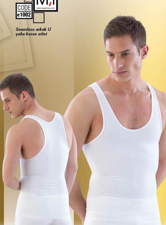 Emay Dikişsiz Erkek Korse Atlet 1002 beyaz