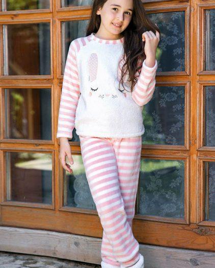 Anıl Tavşan Baskılı Polar Kız Çocuk Pijama Takımı 6331