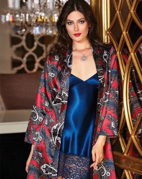 Jeremi Dantelli Kimono Saten Gecelik Sabahlık Takım 2624