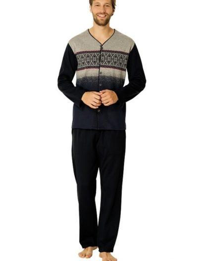 Mecit Önden Düğmeli Büyük Beden Erkek Pijama Takımı 2707K