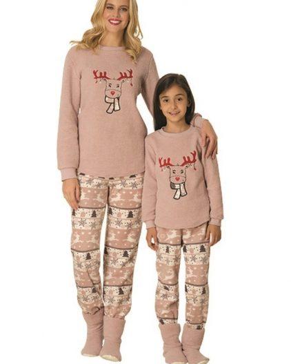 Mecit Bot Hediyeli Polar Anne Kız Pijama Takımı 1763G