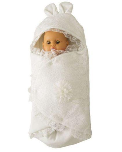 Mecit Dantelli Bebek Kundak Beyaz