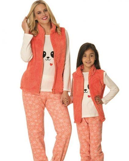Mecit Polar 3lü Anne Kız Pijama Takımı 1762T