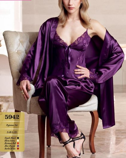 Nurteks Saten Sabahlık ve Pijama Takım 5942 mor