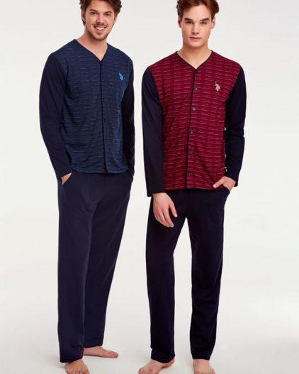 U.S Polo Assn Önden Düğmeli Erkek Pijama Takımı 17506