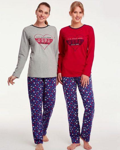 U.S Polo Assn Kalp Baskılı Bayan Pijama Takımı 15939