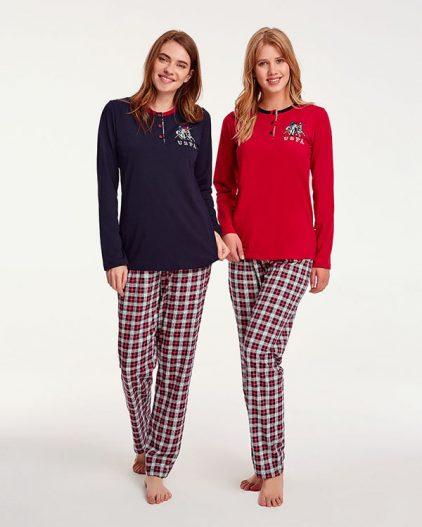 U.S Polo Assn Kareli Bayan Pijama Takımı 15919