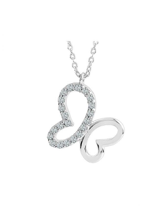 925 Ayar Taşlı Bayan Zikron Kalpli Gümüş Kolye R1002