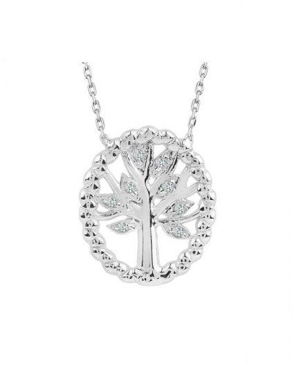 925 Ayar Zikron Ağaç Temalı Bayan Gümüş Kolye R1007