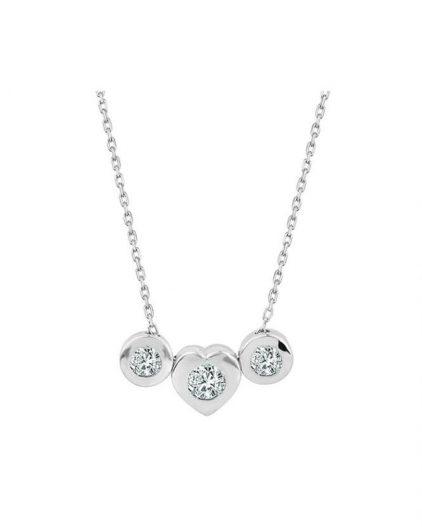 925 Ayar Zikron Kalpli Tek Taşlı Bayan Gümüş Kolye R1021