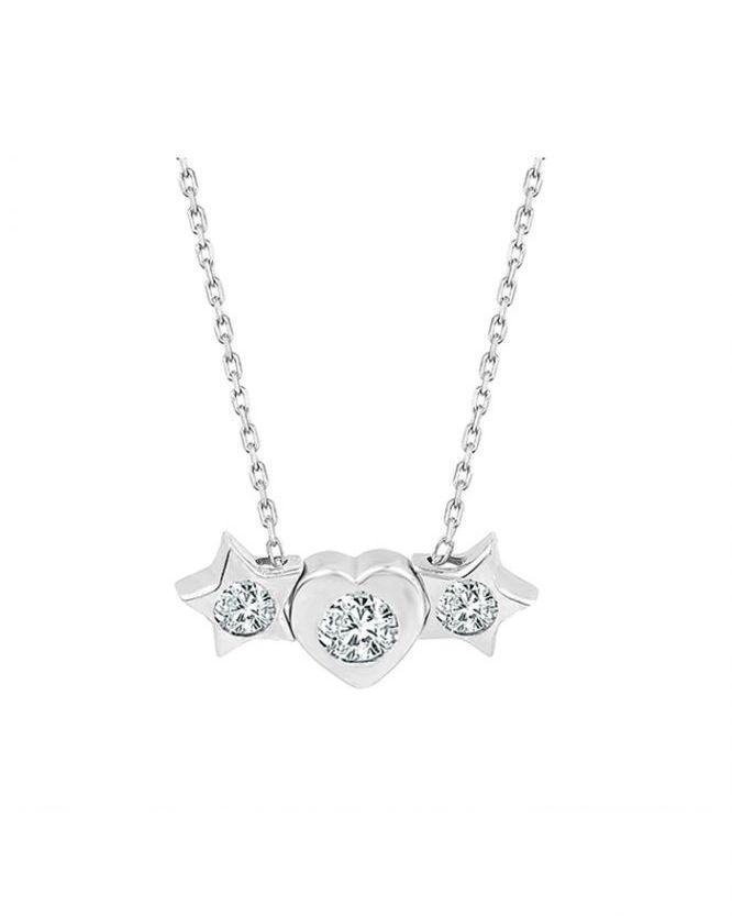 925 Ayar Zikron Kalpli Yıldızlı Tek Taşlı Bayan Gümüş Kolye R1022