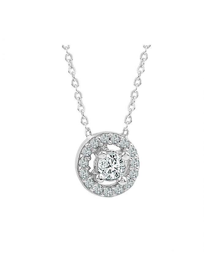 925 Ayar Zikron Taş Süslü Bayan Gümüş Kolye R1004