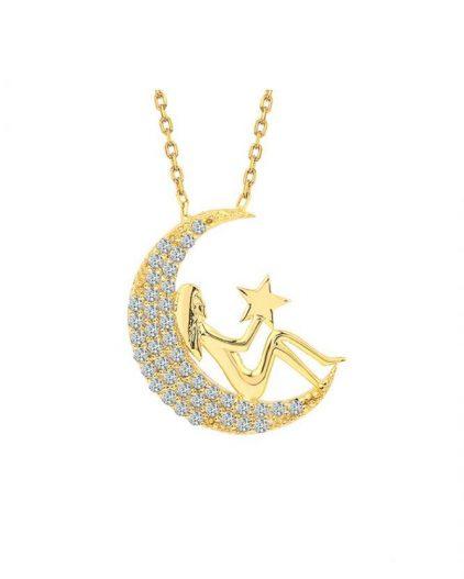 925 Ayar Zikron Taşlı Ay Yıldız ve Kadın Temalı Bayan Gümüş Kolye R1012