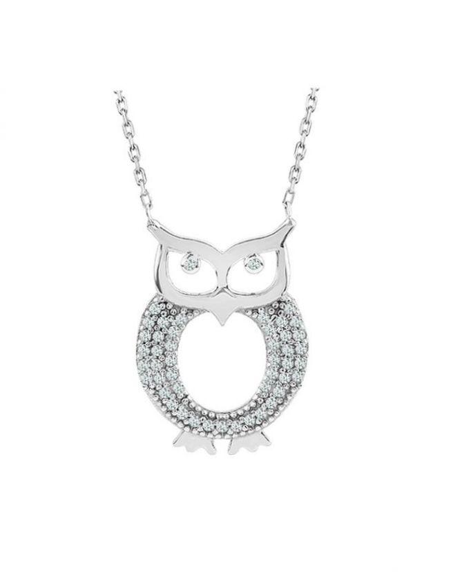 925 Ayar Zikron Taşlı Bayan Gümüş Baykuş Kolye R1028