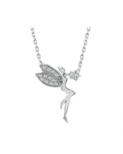 925 Ayar Zikron Taşlı Bayan Gümüş Kanatlı Melek Kolye R1020