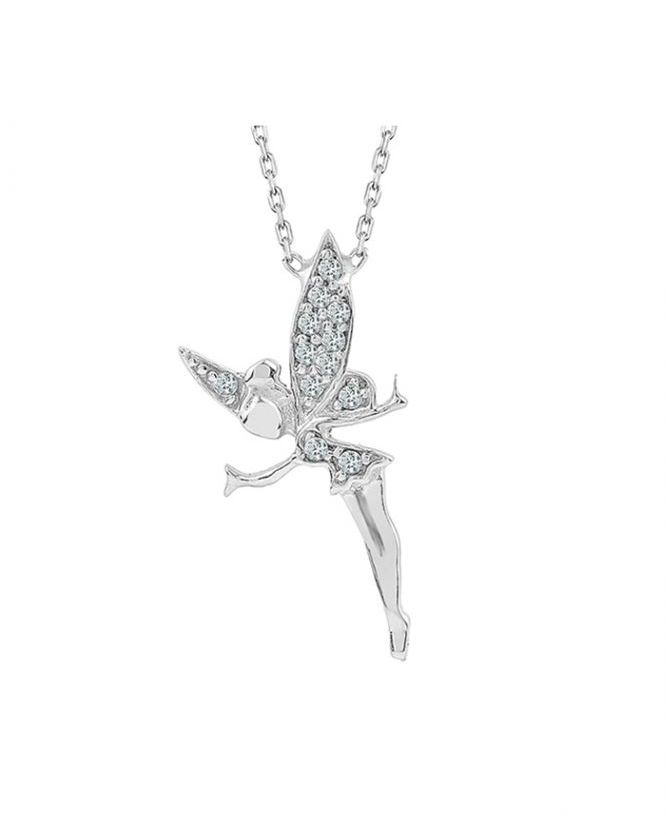 925 Ayar Zikron Taşlı Bayan Gümüş Melek Kolye R1019