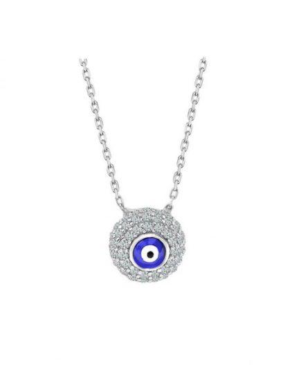 925 Ayar Zikron Taşlı Bayan Gümüş Nazar Boncuklu Kolye R1026