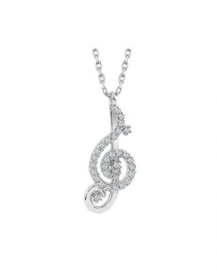 925 Ayar Zikron Taşlı Bayan Gümüş Solfej Kolye R1009