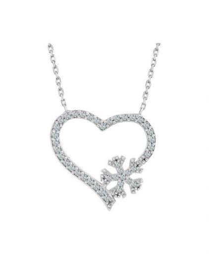 925 Ayar Zikron Taşlı Kalpli Kar Tanesi Bayan Gümüş Kolye R1025