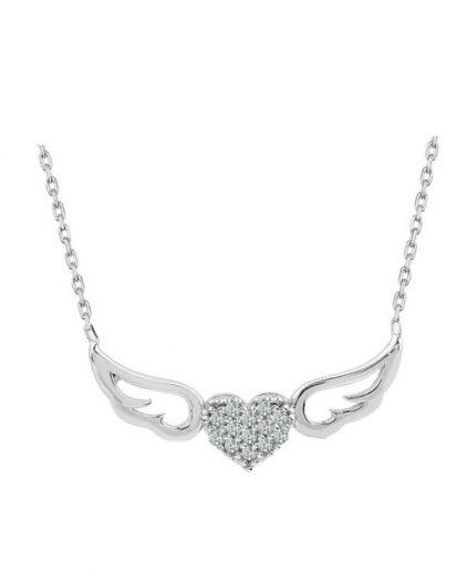 925 Ayar Zikron Taşlı Kalpli Melek Kanatlı Bayan Gümüş Kolye R1015