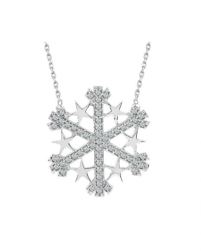 925 Ayar Zikron Taşlı Yıldız Detaylı Bayan Kar Tanesi Gümüş Kolye R1013
