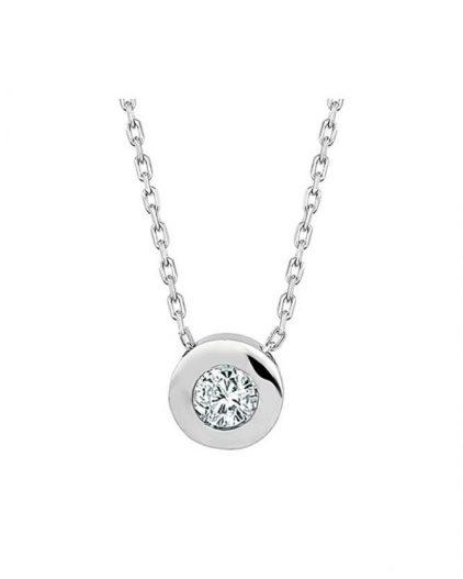 925 Ayar Zikron Tek Taşlı Bayan Gümüş Kolye R1018