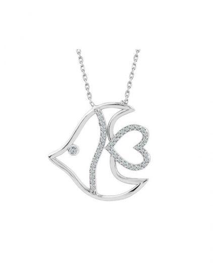 925 Ayar Zikron Bayan Balık Gümüş Kolye R1031