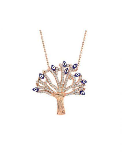 925 Ayar Zikron Taşlı Nazar Boncuklu Hayat Ağacı Temalı Gümüş Kolye R1047