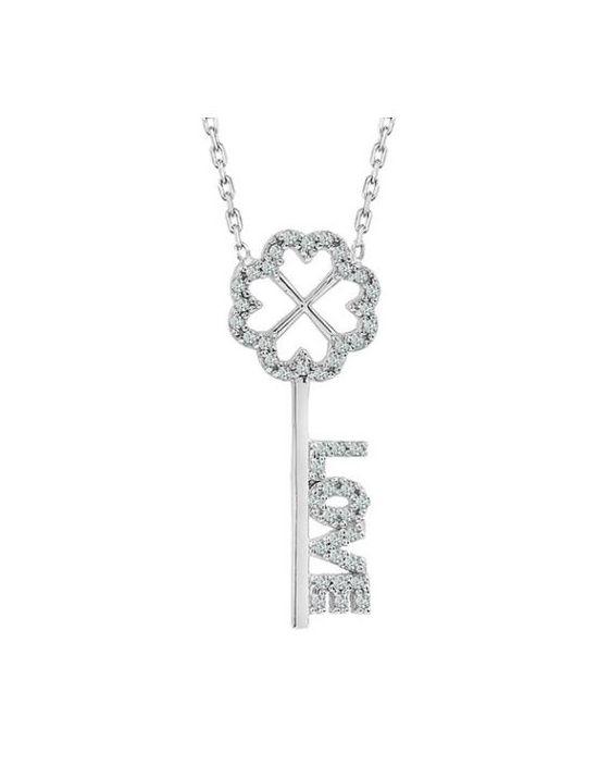 925 Ayar Zirkon Love Taşlı Gümüş Anahtar Kolye R1052