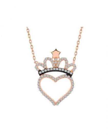 925 Ayar Zirkon Taşlı Kalpli Altın Kaplama Gümüş Taç Kolye R1055