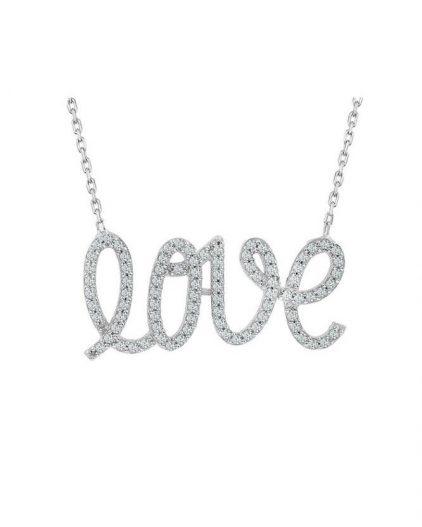925 Ayar Zirkon Taşlı Love Baskılı Gümüş Kolye R1050