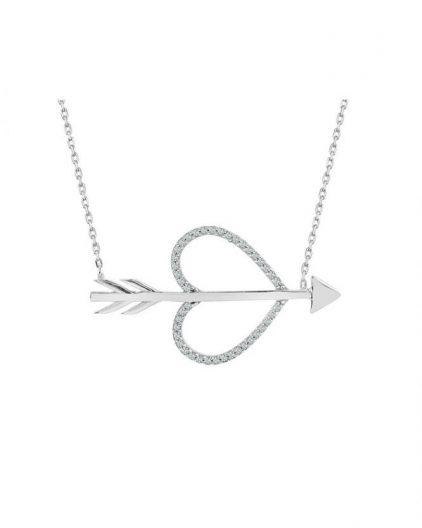 925 Ayar Zirkon Taşlı Ok Kalp Temalı Gümüş Kolye R1058