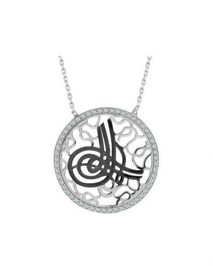 925 Ayar Zirkon Taşlı Tuğralı Gümüş Kolye R1061