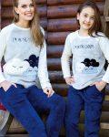 Anıl Tavşan Bulut Desenli Polar Anne Kız Pijama Takımı 6333