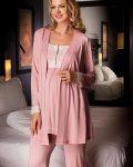 Bondy 3lü Lohusa Pijama ve Sabahlık Takımı 17213 gül kurusu