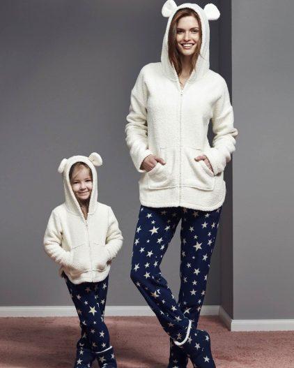 Catherines Bot Hediyeli Anne Kız Polar Pijama Takımı 1119-1120