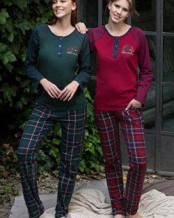 Feyza Kareli Çift Sevgili Pijama Takımı 3125-3126 bordo