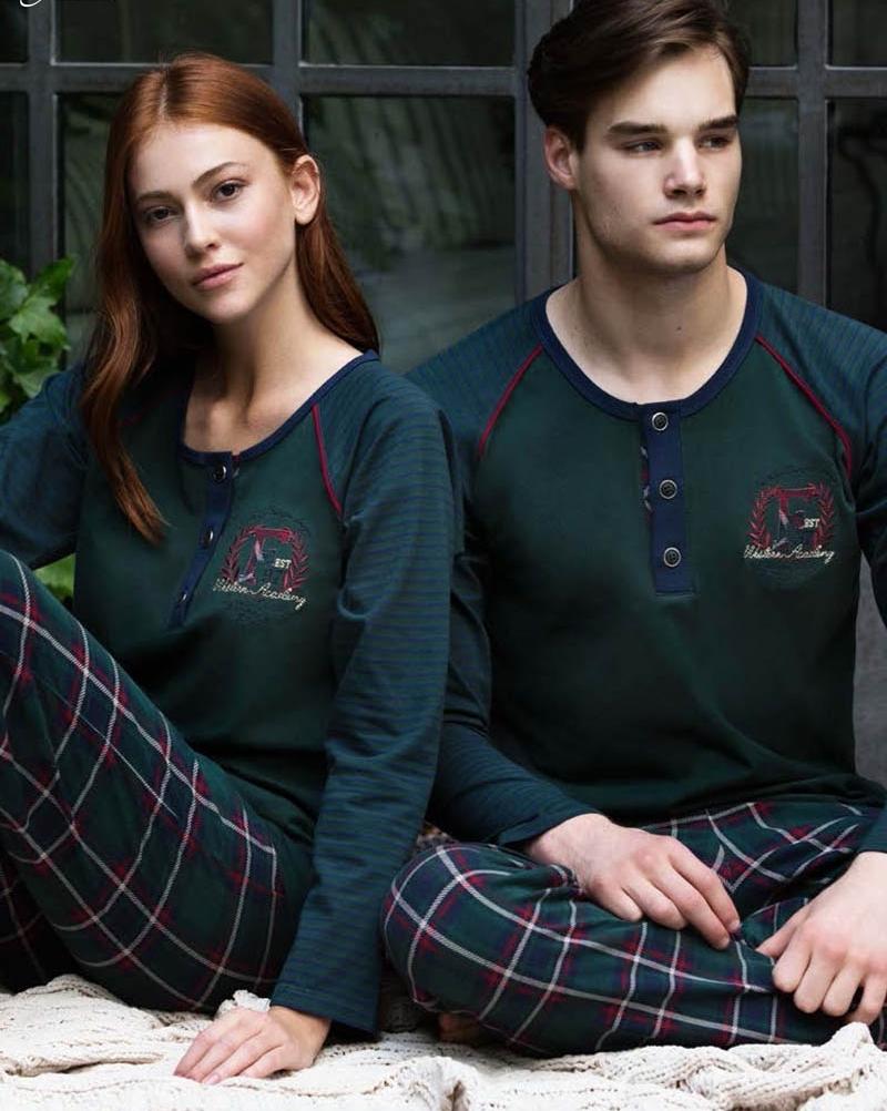 Feyza Kareli Çift Sevgili Pijama Takımı 3125-3126