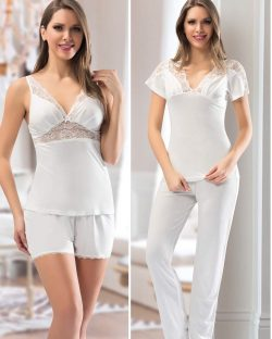 Nbb iç giyim Çeyizlik 6lı Penye Gecelik, Pijama, Sabahlık ve Şort Takımı 3200 pijama