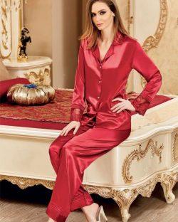 Nurteks Önden Düğmeli Saten Pijama Takımı 5682 kırmızı
