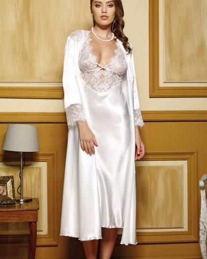 Pierre Cardin iç giyim Çeyizlik 6lı Saten Gecelik, Pijama, Sabahlık ve Şort Takımı 6610