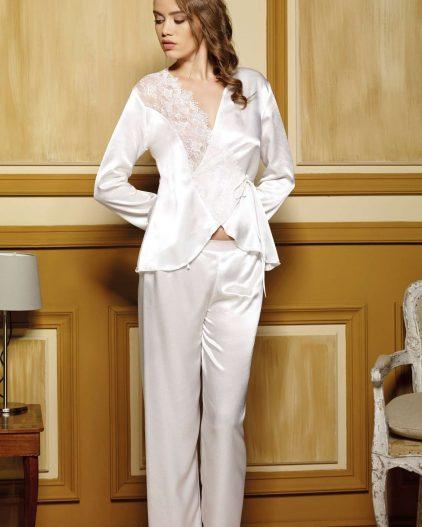 Pierre Cardin iç giyim Çeyizlik 6lı Saten Gecelik, Pijama, Sabahlık ve Şort Takımı 6610 saten pijama