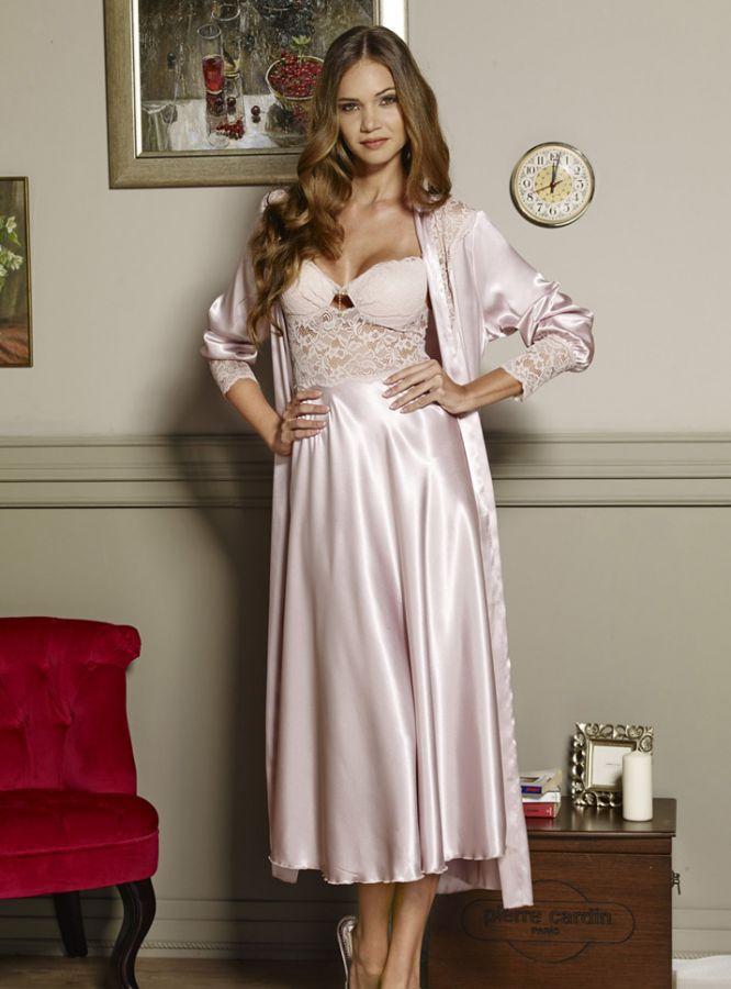 Pierre Cardin iç giyim Çeyizlik 6lı Saten Gecelik, Pijama, Sabahlık ve Şort Takımı 6660