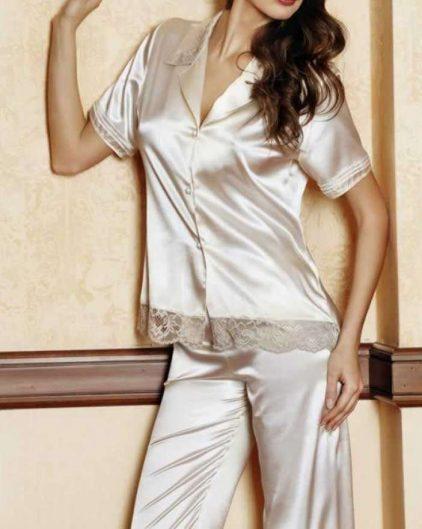 Pierre Cardin iç giyim Çeyizlik 6lı Saten Gecelik, Pijama, Sabahlık ve Şort Takımı 6665 saten pijama