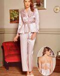Pierre Cardin iç giyim Çeyizlik 6lı Saten Gecelik, Pijama, Sabahlık ve Şort Takımı 6995 saten pijama